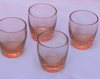 Set of 4 vintage Peach Colored Glass Shot Glasses            00385