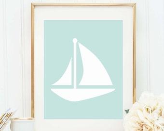 Mint Printable Art, Sail Boat Wall Art, Mint Print, Sailboat Print, Nautical Decor, Coastal Prints, Nautical Print, Instant Download