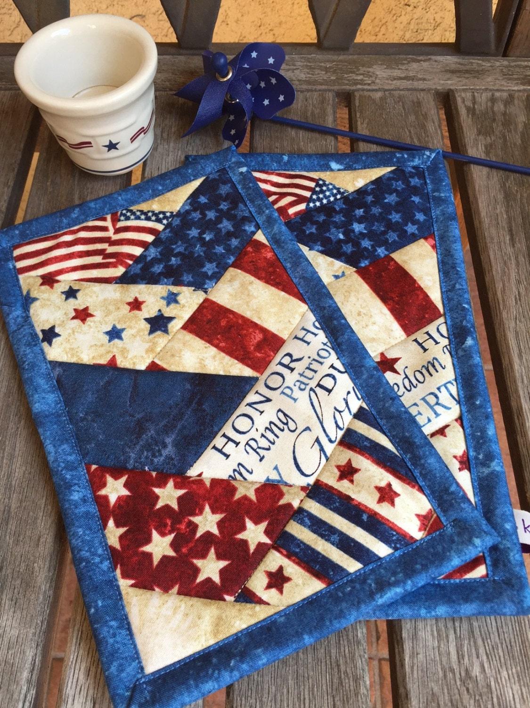 blue patriotic mug rug set in red white and blue patriotic. Black Bedroom Furniture Sets. Home Design Ideas