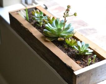 reclaimed wood windowsill planter