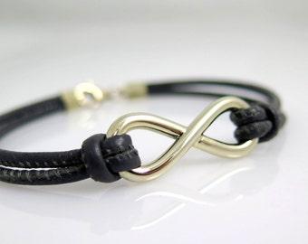 Men Infinity bracelet gold 14k gold bracelet Men Leather bracelet Natural white gold Bracelet men Gold bracelet men Woven gold bracelet