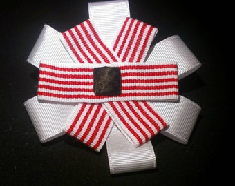 Cute red and white stripe nautical bow