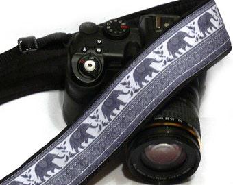 Lucky Elephants Camera Strap. Gray Camera Strap.  DSLR Camera Strap. Canon, Nikon Camera Strap. Women Accessories