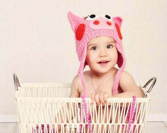 knittwear- pink piggy hat for kids