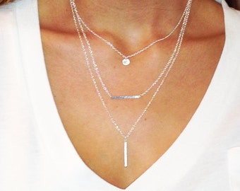 3 Necklace SET - STERLING SILVER SImple Layered Necklace Set * Dainty * Delicate * Minimal * Disc * Hammered Bar * Stick