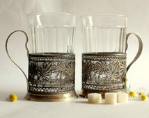 Set of 2 Vintage Russian Soviet Melchior Filigree Tea Cup Holders with Glasses
