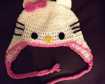 Hello Kitty beanie- Newborn to adult, crochet handmade