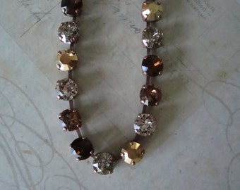 "Swarovski Elements ""Caramel and Chocolate"" Crystal necklace earring set"