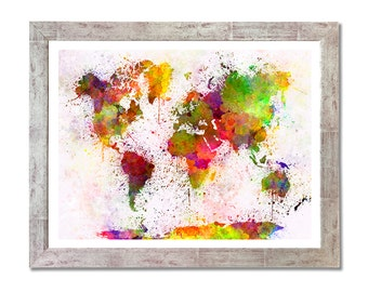 World map in watercolor painting abstract splatters - 8x10 in. to 12x16 in.- Fine Art Print Glicee Poster Watercolor Illustration - SKU 0607