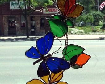 Blue Butterfly Scroll with Orange Flowers Stained Glass Sun Catcher