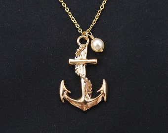 large anchor necklace, gold filled, Swarovski cream pearl, gold anchor charm on gold chain, mommy gift, best friend gift, wedding, for him