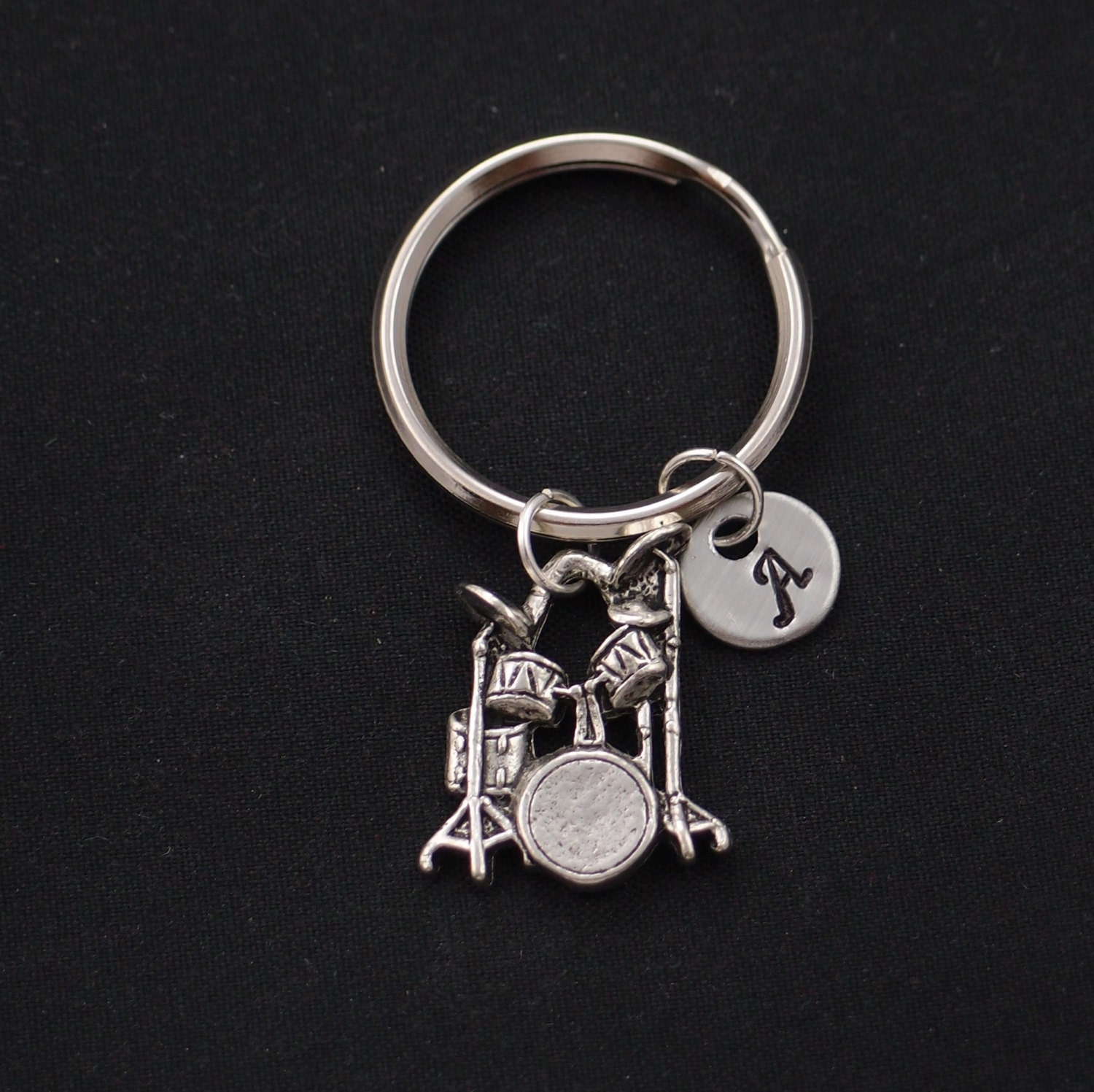 drum keychain initial keychain silver drum set charm. Black Bedroom Furniture Sets. Home Design Ideas