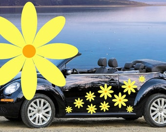 32,yellow daisy flower car decals,stickers in three sizes