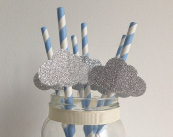 Baby Shower or Birthday Party Blue Stripe and Glitter Silver Cloud Straws