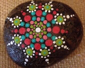 """Mandala Stone - """"Jemma"""" (#415O)- spirit, meditation & inspiration - hand painted - signed and numbered"""