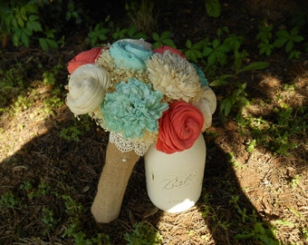 Sola bouquet, wedding bouquet, bridal bouquet, teal, coral bouquet, cream and ivory flower, keepsake flowers, rustic chic wedding