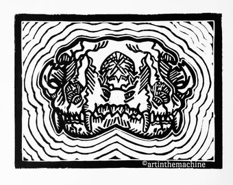 Double Trouble Cat Skull Linocut Print