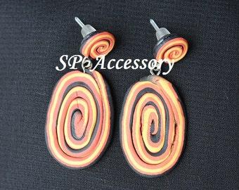 Bohemian Earrings Circle, line earrings, earrings clay, jewelry earrings, clay earrings