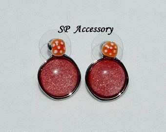 Sparkling Red Earrings, red jewelry, stainless steel earrings, jewelry earrings