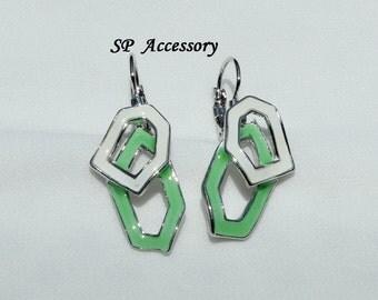 White Green Earrings, stainless steel earrings, jewelry earrings