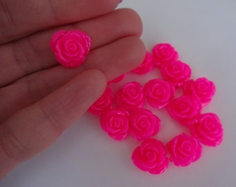 16 pink roses resin flatback decoden cabochons 14x6mm embellishment resin scrapbook DIY phone hair bow centre clip pin