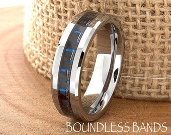 Navy Blue Carbon Fiber Inlay Tungsten Wedding Ring Mens Wedding Band Custom Laser Engraving Personalized Ring Design Classic Modern Fashion