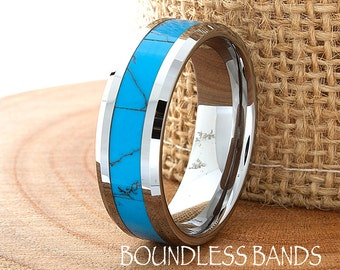 Turquoise Wedding Band Flat High Polished Beveled Customized Tungsten Band Any Design Laser Engraved Ring Mens Turquoise Ring Modern New 8mm
