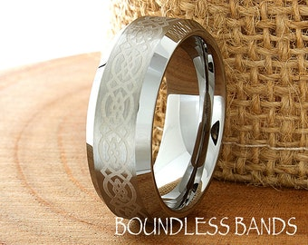 Celtic Knot Tungsten Wedding Ring Mens Customized Laser Engraved Band Mans Women Anniversary Ring New Design Classic Modern His Hers New 8mm