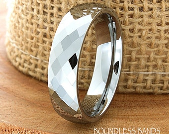 Tungsten Wedding Ring For Him High Polished Domed Faceted Custom Made Tungsten Anniversary Ring Couple Wedding Ring Personalized Band Mens