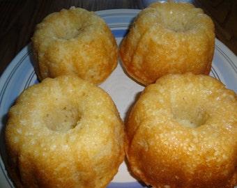Homemade Lemony Buttermilk Mini Single Serving Bundt Cakes (1 Dozen)