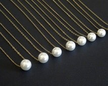 Bridesmaid Pearl necklace, 10 mm, 8 mm , 6 mm White, Ivory pearl, Gold fill, Sterling silver, Rose Gold, personalized wedding, single pearl
