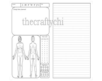 Female Pain Journal for TN, Traveler's Notebook, Midori- , Personal  digital download Printable