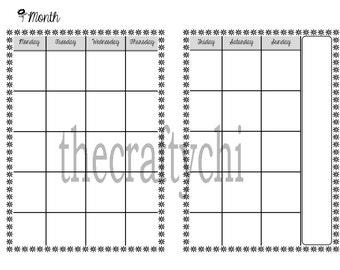 Calendar, Standard, Regular, Digital Download, MO2P, WO2P, DO1P Traveler's Notebook, Midori-, Printable
