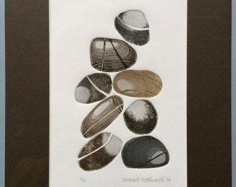 8 Pebbles Limted Edition Mounted Etching No. 7 of 12