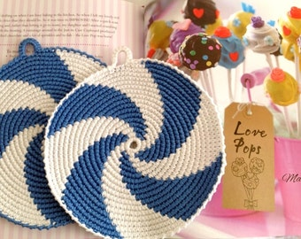 Crochet Potholders, Crocheted Potholders, Blue Potholders, Kitchen decor