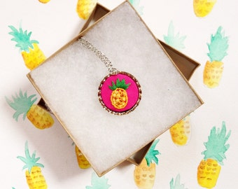 Hand Embroidery Pineapple Necklace Pink and Yellow
