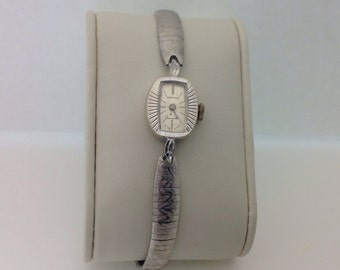 Vintage Galdstone, Permaspring , Swiss Made ,1960s Womens Watch, 14K Solid White Gold , Spieled 1/20 10k white GF band, Mechanical Watch