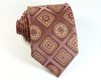 Vintage 1960s Tie Keshana European NOS Diamond Check Mauve Skinny Necktie