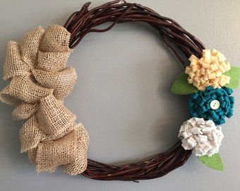 """10"""" Floral and Burlap Ruffle Willow Wreath"""