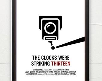 Literature poster, 1984, book art, classic literature, minimalist, contemporary art