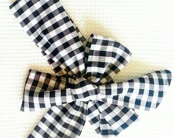 Baby girl headwrap {Black & White Gingham} toddler headwrap, headband