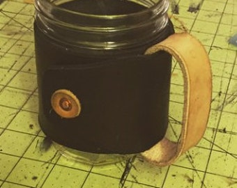 Leather Mason Jar Mug