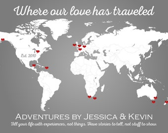 Personalized Map, Love Travels, Personalized World Map, Personalized Travel Map, Where We've Been Map,Where Our Love Has Traveled,Custom Map