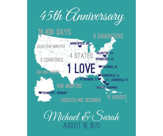 45th Wedding Anniversary Gift Ideas Parents : 45th Wedding Anniversary Gifts, 45th Anniversary Gift, 45 Year ...
