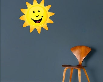 Happy Sun Wall Decal, Sun Wall Art Sticker, Sun Wall Design, Sun Wall Mural, Peel and Stick Sun, Removable Sun Decal, Sun Wall Sticker, c30