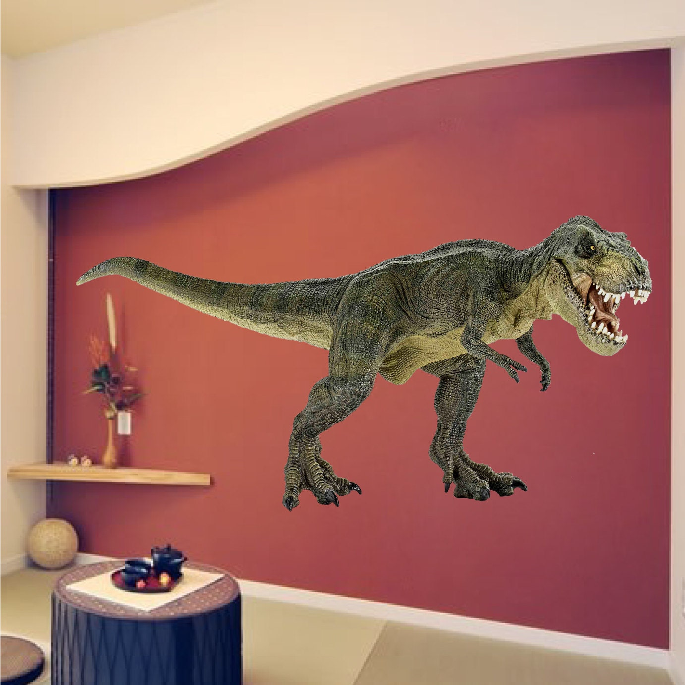 Dinosaur wall decal dinosaur wall mural kids jurassic wall for Dinosaur mural ideas