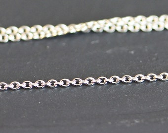B5-3-R] Rhodium plated / 1.4 x 1mm / 225s / Cable Chain / 1 meter