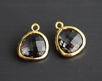 A2-000-G-CC] Charcoal / 13 x 16mm / Gold plated / Glass Pendant / 2 pieces