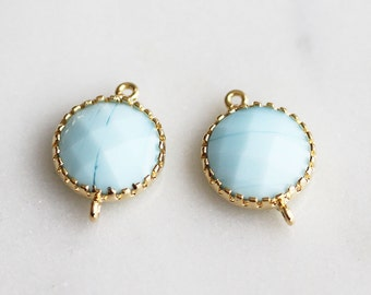 A2-033-G-MB] Milk Blue / 11mm / Gold plated / Round Pendant Connector /  2 pieces