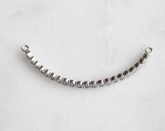 P1-229-R] Cz Cubic Half Bangle for Bracelet / 3 x 45mm / Rhodium plated / Pendant / 1 piece(s)